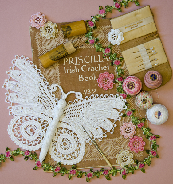Irish crochet butterfly with book