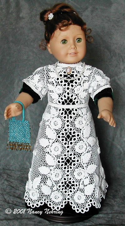 Irish Crochet doll dress, crochet, cotton, Nancy Nehring, USA 2001