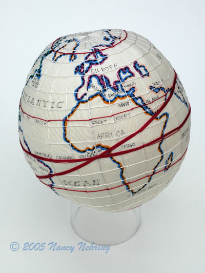 reproduction Westtown globe sampler, embroidery, 6