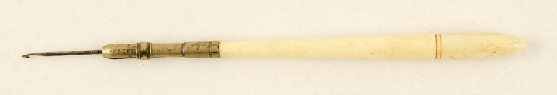 G. Chambers 2 Nov 1847. Steel wire needle, bone handle.