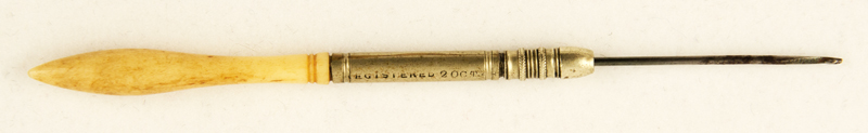 G. Chambers 2 Oct 1848. Steel wire needle, bone handle.