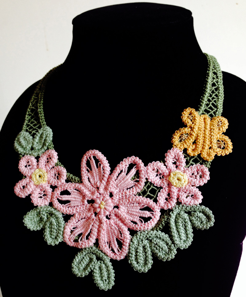 Romanian Point Lace Floral Necklace colors 800px